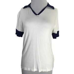 Rebellious One Collared Shirt in Ivory Navy (NWT)